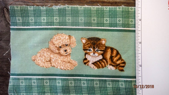 PUPPY and KITTY, Appliques, DIY,  Boarder Fabric, Hanging Towels, Fabric, CraftProduct, Supply, Project, Green,French Poodle,Brown Tiger Cat