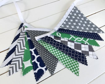 Bunting Banner, Photography Prop, Fabric Flags, Nursery Decor, Birthday Decoration, Garland - Kelly Green, Grey, Navy Blue, Gray, Chevron