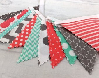 Bunting Banner Mini,Fabric Banner,Fabric Flags,Girl Nursery Decor,Birthday Decoration - Coral Pink,Mint Green,Grey,Gray,Chevron