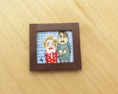 ORIGINAL Miniature Acrylic Painting Happy Couple for Dollhouse or Collection- Tiny Dollhouse Painting