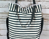 Diaper bag in Stockholm Stripe /Blue - Grey,  Washable and durable! Nappy Sack by Darby Mack made in the USA
