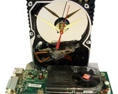 Hard Drive Clock with a Full Green Graphics Circuit Board & Fan as the Base. Amazing Clock. FREE SHIPPING USA!