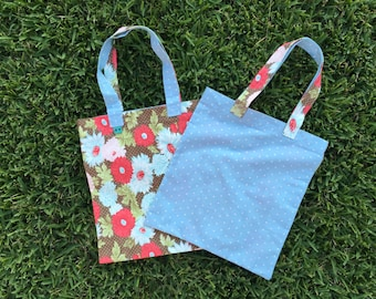 Tote Bag - red/brown floral - light blue polka dot