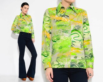 ON SALE Vintage 70s Green Shirt Psychedelic Tree Landscape Graphic Print Top Disco Hippie Button Up Long Sleeve Shirt S M