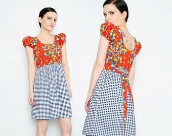 70s Floral Print + Gingham Dress Puff Sleeve Empire Waist Boho Hippie Cotton Mini Dress Red Blue Small S