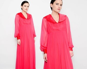 ON SALE 60s Magenta Pink Gown Sheer Chiffon Empire Waist Dress Mod Peter Pan Collar 1960s Formal Maxi Dress Medium M