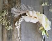 Wedding accessories, Bridal headband, Whimsical flower crown, Flower facsinator, Feather headpiece, hair accessories