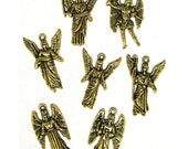 7 Antiqued Gold Plated Archangel Charms Arch Angels