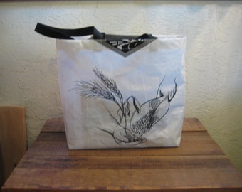 Recycled Upcycled Reusable Grain Feed Large Tote Bag Purse