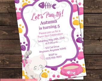 Cute Kitty Cat Girl Birthday Party Invitation