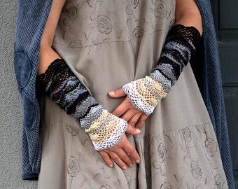 Gypsy Night - crocheted open work lacy romantic multicolored wrist warmers mittens cuffs hippie boho style
