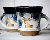 ceramic deer mug, handmade mugs , set of two wheel thrown mugs
