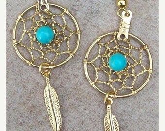 ON SALE Sun and Sky l - Gold & Turquoise dream catcher earrings - Sun and Sky