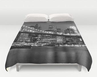 New York Duvet cover/New York duvet/Black and White duvet cover/Manhattan duvet cover/NYC duvet cover/Dorm bedding/Minimal bedding