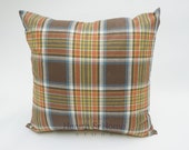 Fall Plaid  Orange Decorative Throw Pillow Cover Thanksgiving Pillow   10 Cushion Cover Sizes including 18 x 18 and 20 x 20 Tan Pumpkin