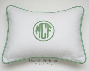 Two Monogrammed  Pillow, Monogram Pillow,  Personalized Pillow, Dorm Decor, Nursery Pillow, Wedding Gift Holiday Baby, Lumbar Pillow