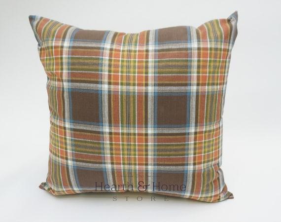 Plaid Decorative Throw Pillows : Fall Plaid Orange Decorative Throw Pillow Cover Thanksgiving