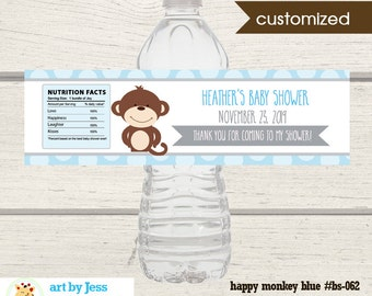 Monkey Water Bottle Labels / Boy Baby Shower Water Bottles Favor / Printable Print your Own bs-062