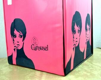Vintage 60s Pink Carousel Wig Box