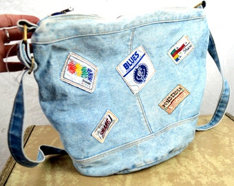 Vintage 80s Denim Tote Bag Purse -- By Shane with Patches