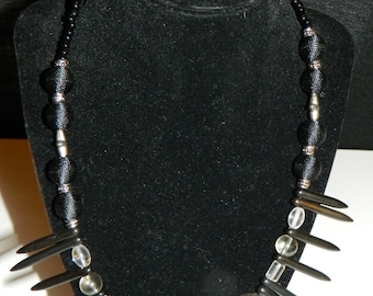 Black Spiked Tribal Necklace