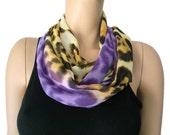Chiffon infinity scarf,Sunrise  safari,Leopard/animal print and purples- chiffon infinity Scarf/ cowl Instant gratification