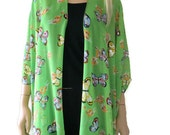 Kimono cardigan - Spring Butterflies-Chiffon Green Ruana cardigan with butterflies -Layering piece-Many colors