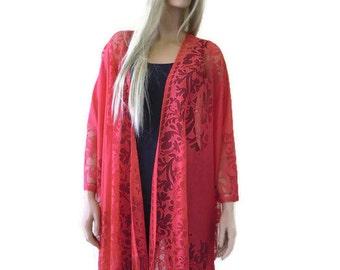Sunset red Kimono-Bohemian Lace Kimono cardigan-Red Fringe kimono/Ruana -Oversize Tall kimono