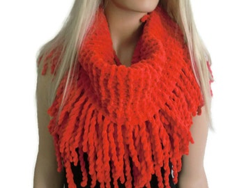 Velvet Christmas Red winter scarf Hand knitted ulta soft fluffy winter cowl with fringes-More colors are coming