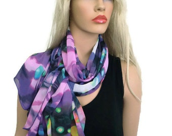 Purple green chiffon scarf  shawl Galaxy inspired, Slimming Chiffon Beach wrap,  Sarong/Pareo,oversized scarf