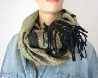 Blanket cowl infinity scarf-Antique yellow gold-black-Tribal-rustic Reversible unisex winter cowl with fringes-gold and black