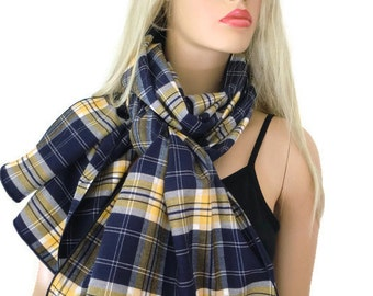 Navy/Yellow cotton flannel plaid winter scarf- Neck Rag with navy trimming-unisex Long flannel plaid scarf-Fall  Winter Fashion