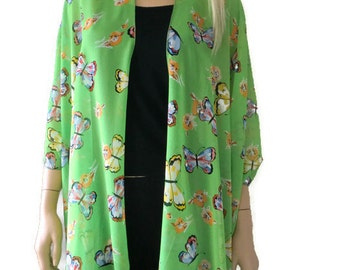 Kimono cardigan - Spring Butterflies-Chiffon Green Ruana cardigan with butterflies -Layering piece-Many colors
