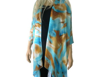 Mother earth-Kimono cardigan ocean and caramel brown- Chiffon ruana-Italian silky chiffon