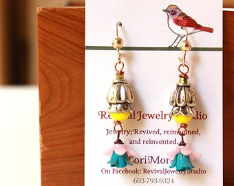 Floral Earrings - Layered Earrings with Turquoise, Pink, and Yellow with Copper and Silver Accents - Gift for Her