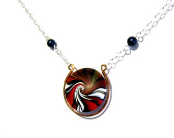 Red Orange Monarch Swirl Pendant Necklace with Dark Purple and Copper Accents - Sterling Silver