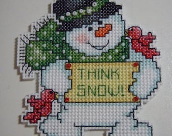 Cross Stitched SNOWMAN No. 6 CHRISTMAS ORNAMENT