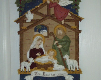 Bucilla Felted Kit Competed MANGER WALL HANGING Christmas Decoration