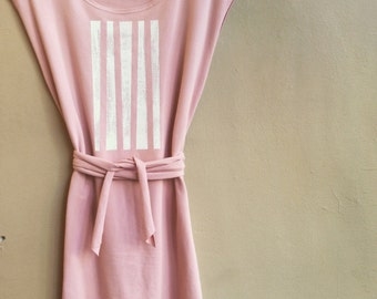 Sale, Size Large, Blush, Women's Tunic, Cotton Jersey with White Lines, modern style- ready to ship