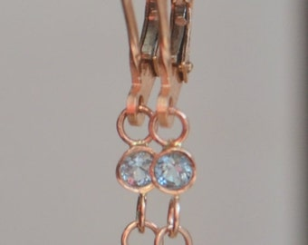 SALE Petal Style Teal Spinel and Aqua Dangly Earrings in 14K Rose Gold