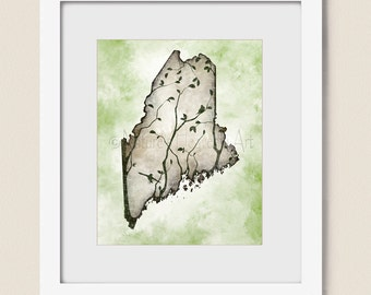 8 x 10 Maine State Art, Maine Art Print, Tree Wall Art, Maine Wall Art, Maine Decor, Maine State Wall Art  (416)