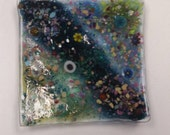 Colorful muted fused glass square sushi  dish boho style