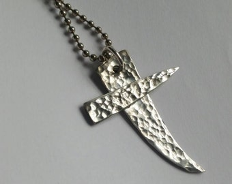 Silver plated Fork tine cross pendant silverware jewelry