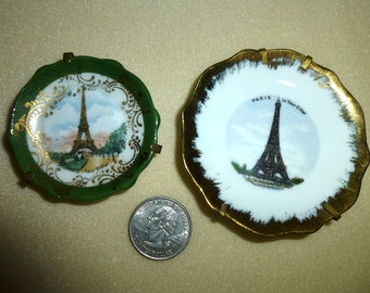 Pair of Tiny Limoges Eiffel Tower Tourist Plates. Both Are Marked LIMOGES. Transfer-ware Plates. Sweet French Souvenir of France. Vintage