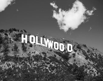 Black & White Hollywood Sign Photo, Hollywood Sign Print, Hollywood Theme Decor, Los Angeles Photography, California Decor