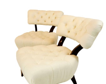 Billy Haines Style Tufted Lounge Chairs - A Pair
