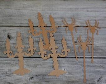 Chipboard Halloween Die Cut Set Candles Spiders