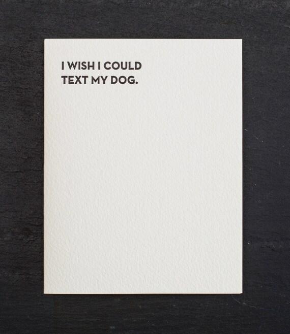 dog text. letterpress card. #910