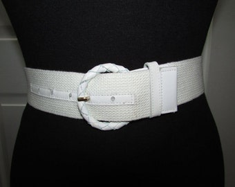 Vintage Off White Web Canvas Genuine Leather Buckle Belt SM