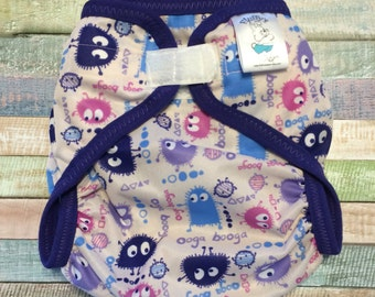 Ready to ship, Large Pink Ooga Polyester PUL Cloth Diaper Cover With Aplix Hook & Loop